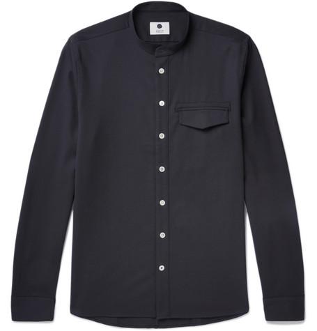 Stockholm Grandad-collar Twill Shirt - Navy