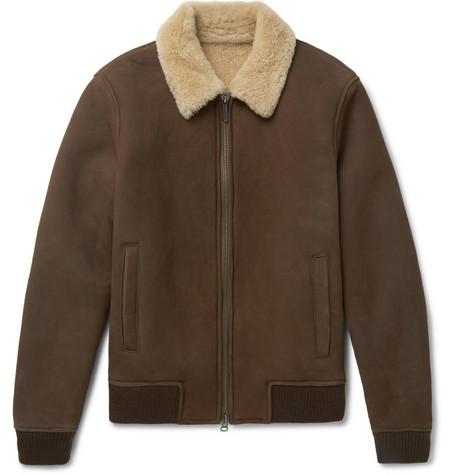 Rowan Shearling-lined Suede Bomber Jacket - Brown