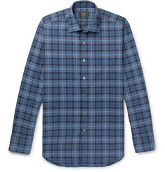 Emma Willis Slim-Fit Prince of Wales Checked Brushed-Cotton Shirt