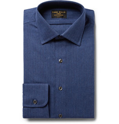 Emma Willis Blue Slim-Fit Herringbone Brushed-Cotton Shirt