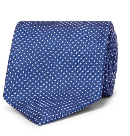 Emma Willis 9cm Polka-dot Silk-twill Tie In Blue