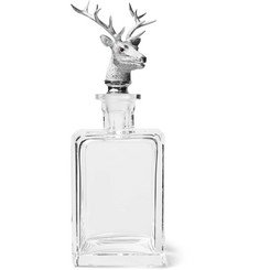 Asprey Sterling Silver and Crystal Stag Decanter