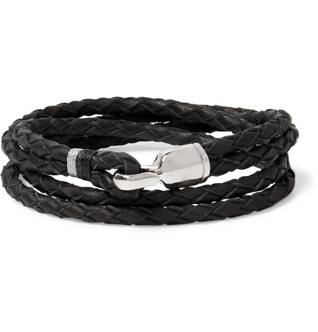 Miansai Trice Woven Leather And Sterling Silver Wrap Bracelet In Black