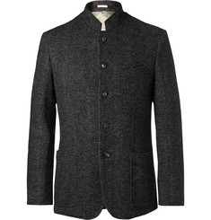 Massimo Alba Dark-Grey Herringbone Wool-Blend Blazer