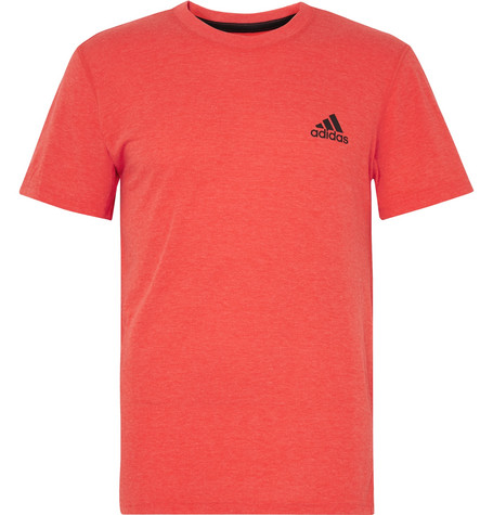 Adidas Originals Ultimate MÉlange Climalite T-shirt In Tomato Red