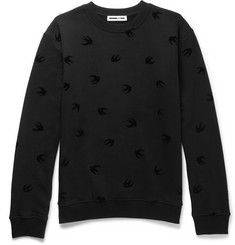 McQ Alexander McQueen Flocked Loopback Cotton-Jersey Sweatshirt