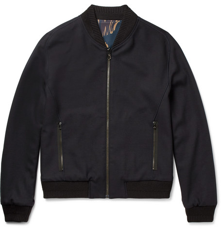 Wooyoungmi Reversible Stretch-wool Bomber Jacket In Black
