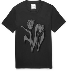 Wooyoungmi Embroidered Flocked Printed Cotton-Jersey T-Shirt