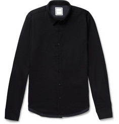 Wooyoungmi Panelled Stretch Wool-Twill and Houndstooth Tweed Shirt