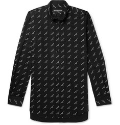Balenciaga Oversized Button-Down Collar Printed Cotton-Twill Shirt