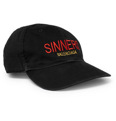 Balenciaga Sinners Embroidered Cotton-Twill Baseball Cap