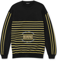 Balenciaga Oversized Embroidered Striped Cotton-Jersey Sweatshirt