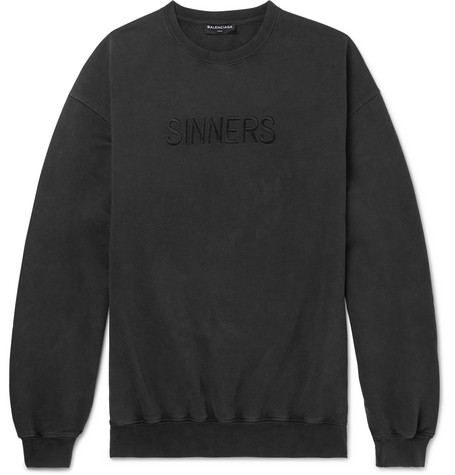 Free Shipping Explore Discount Classic Oversized Sinners-embroidered cotton sweatshirt Balenciaga Discount Sale Online Discount Deals vswZ9B