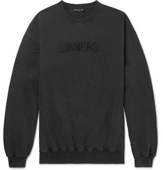 Balenciaga Oversized Embroidered Cotton-Jersey Sweatshirt