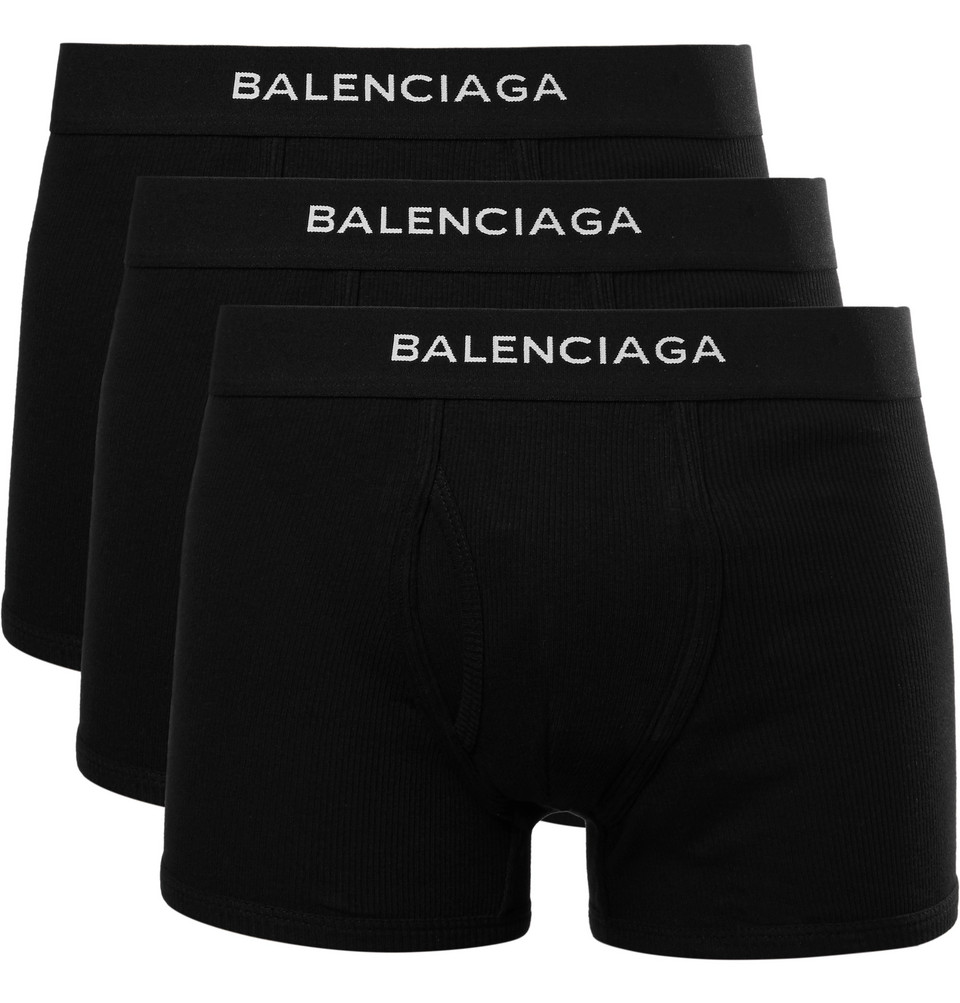 Three-pack Ribbed Cotton Boxer Briefs - Black