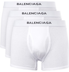 Balenciaga - Three-Pack Ribbed Cotton Boxer Briefs