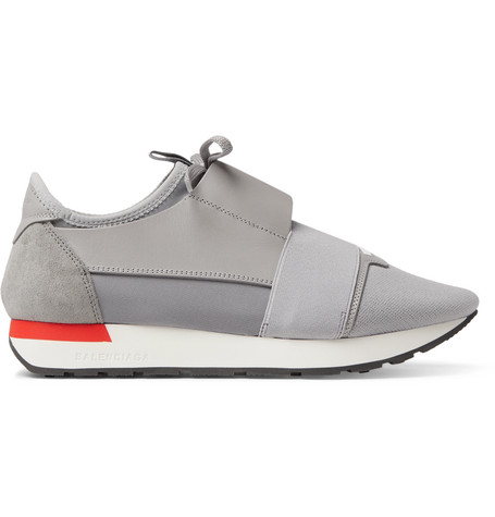 Race Runner Leather, Suede And Neoprene Sneakers, Gray