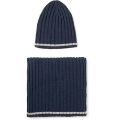William Lockie - Striped Ribbed Cashmere Hat and Scarf Set