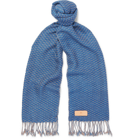 Il Bussetto Fringed Checked Woven Cotton Scarf In Blue