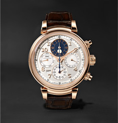 IWC SCHAFFHAUSEN - Da Vinci Perpetual Calendar Chronograph 43mm 18-Karat Red Gold and Alligator Watch