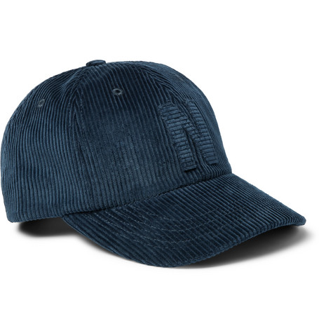 Appliquéd Cotton-corduroy Baseball Cap - Blue
