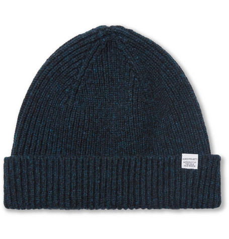Ribbed Wool Beanie - Navy