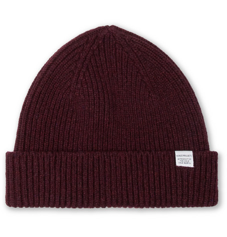 Ribbed Wool Beanie - Red
