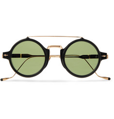 Jacques Marie Mage Eluard Round-Frame Acetate and Gold-Tone Titanium Sunglasses