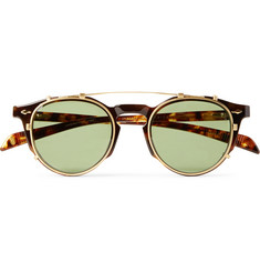 Jacques Marie Mage Sheridan Round-Frame Tortoiseshell Acetate Optical Glasses With Clip-On Gold-Tone UV Lenses