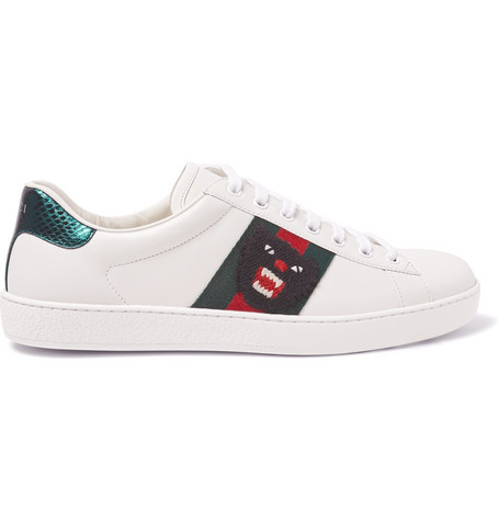 Gucci Ace Watersnake-Trimmed Embroidered Leather Sneakers In Blue