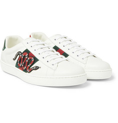 Gucci Ace Embroidered Ayers and Canvas-Trimmed Leather Sneakers