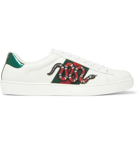 Gucci Ace Ayers-Trimmed Embellished Leather Sneakers In White ... 85e6fe8bb1454