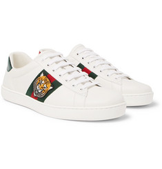 Gucci - Ace Embroidered Watersnake and Leather Sneakers