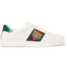 Gucci Ace Watersnake-Trimmed Embellished Leather Sneakers