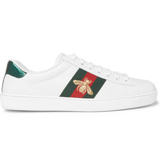Gucci Ace Embroidered Watersnake and Leather Sneakers