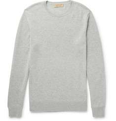 Burberry Slim-Fit Elbow-Patch Mélange Cashmere and Cotton-Blend Sweater