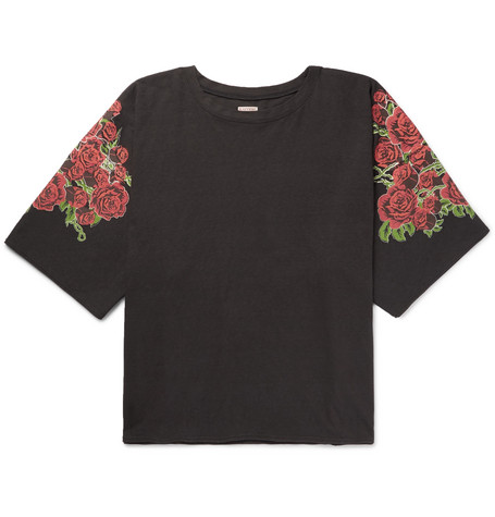 Kapital Oversized Printed Cotton-jersey T-shirt In Black