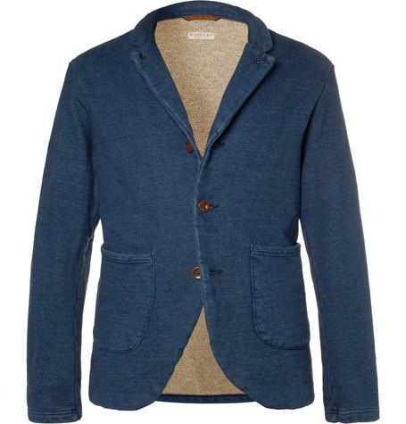 Kapital Indigo Slim-fit Loopback Cotton-jersey Blazer