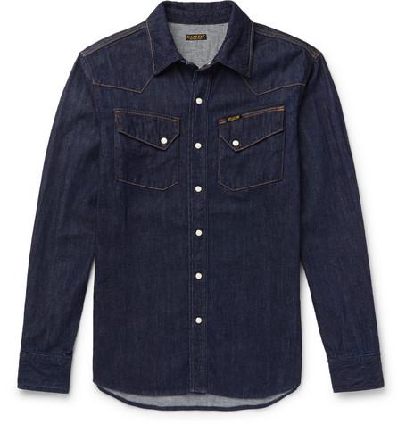 Kapital Slim-fit Denim Western Shirt In Indigo