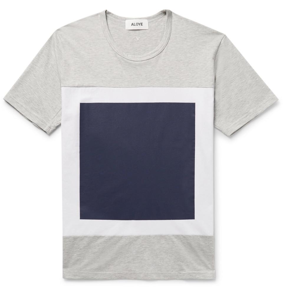 Printed Mélange Cotton-jersey T-shirt - Light gray