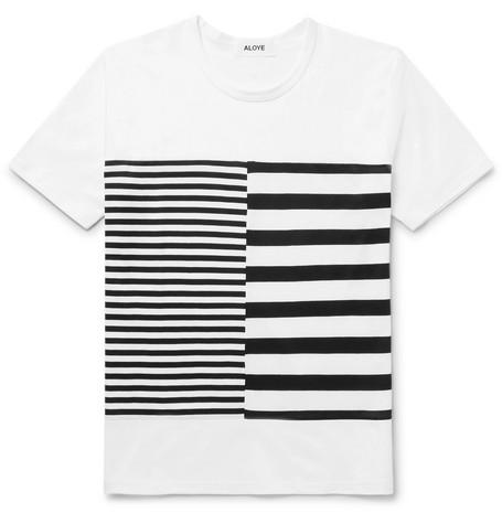 ALOYE Printed Cotton-Jersey T-Shirt in White