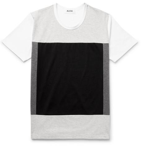 ALOYE Colour-Block Cotton-Jersey T-Shirt in Light Gray