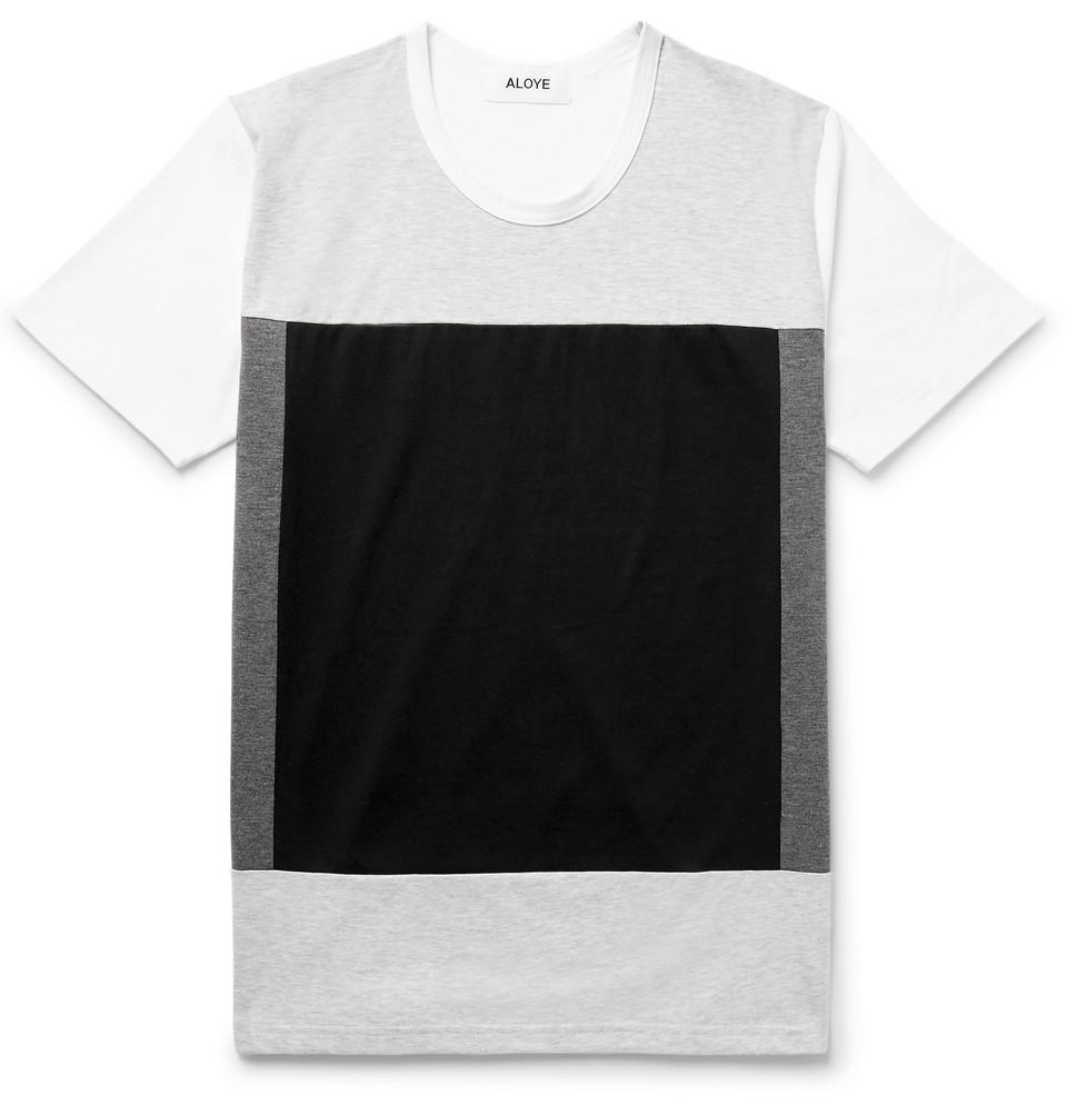 Colour-block Cotton-jersey T-shirt - Light gray