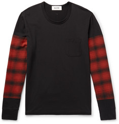Aloye Checked Flannel -Panelled Cotton-Jersey T-Shirt
