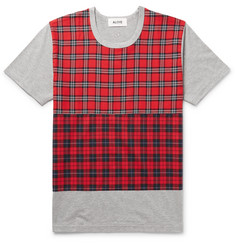 Aloye Check-Panelled Cotton-Jersey T-Shirt