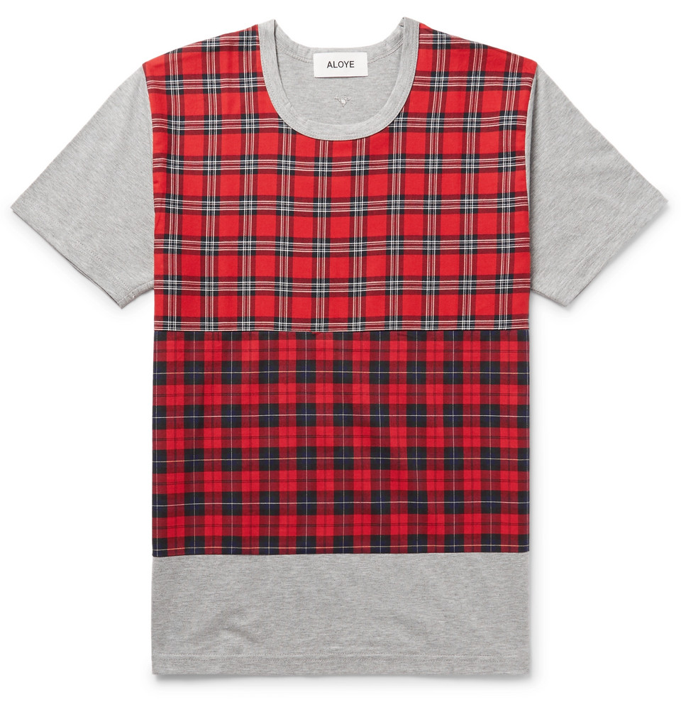 Check-panelled Cotton-jersey T-shirt - Gray