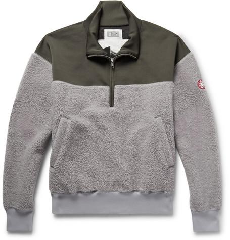 Embroidered Loopback Jersey And Fleece Half Zip Sweatshirt by Cav Empt