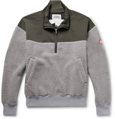 Cav Empt Embroidered Loopback Jersey and Fleece Half-Zip Sweatshirt