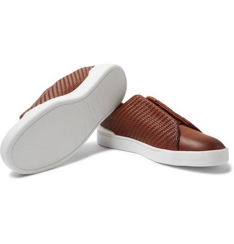 Triple Stitch Pelle Tessuta Leather Slip-on Sneakers - BlackErmenegildo Zegna Ooezowppqp