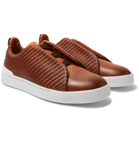 Triple Stitch Pelle Tessuta Leather Slip-on Sneakers - Brown